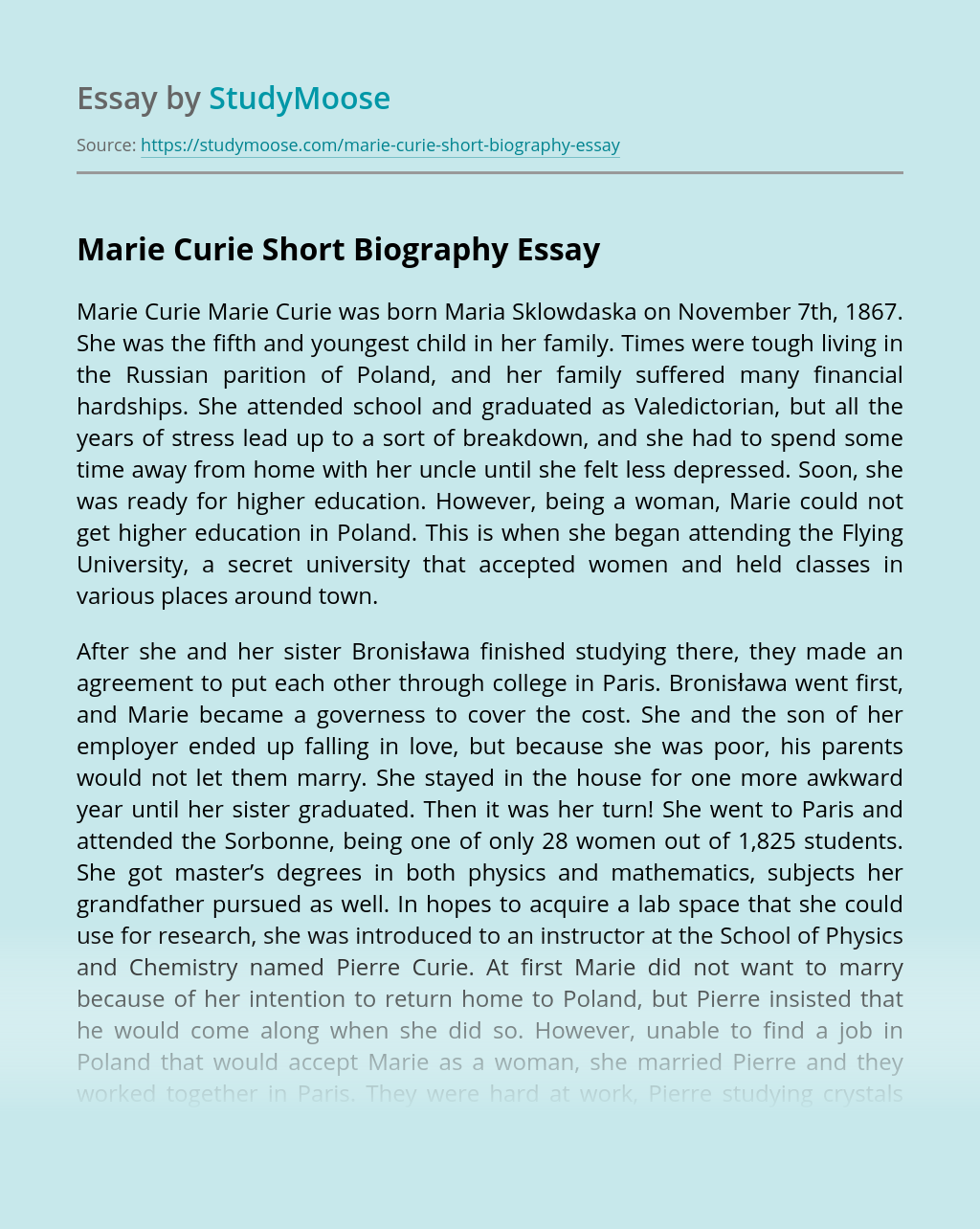Marie Curie Short Biography
