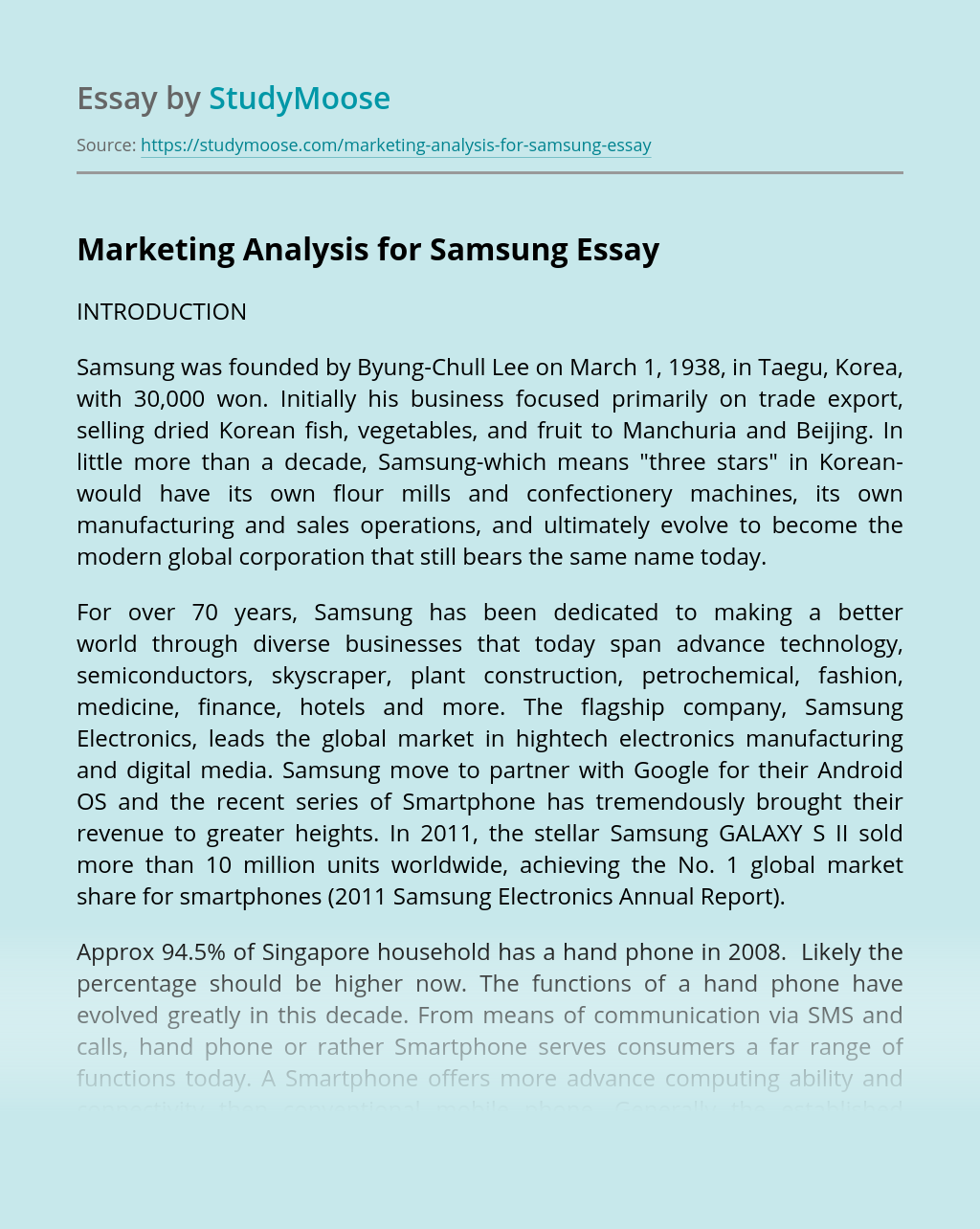 Marketing Analysis for Samsung