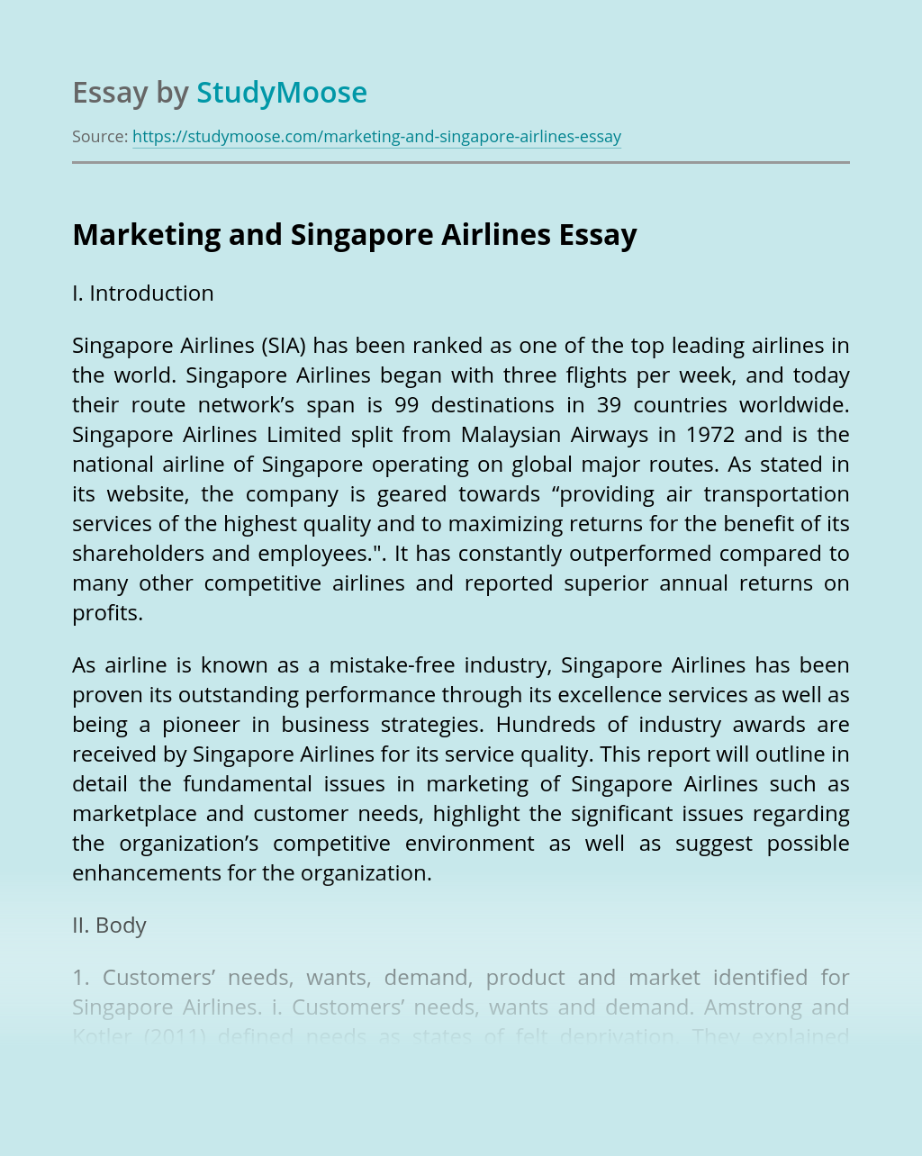 Marketing and Singapore Airlines