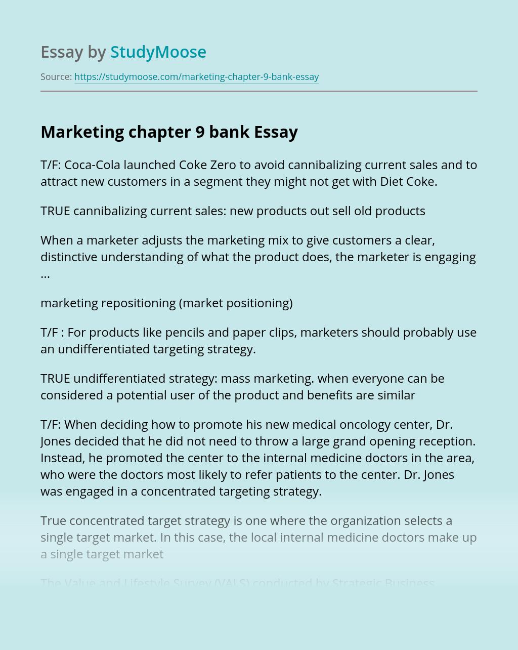 Marketing chapter 9 bank