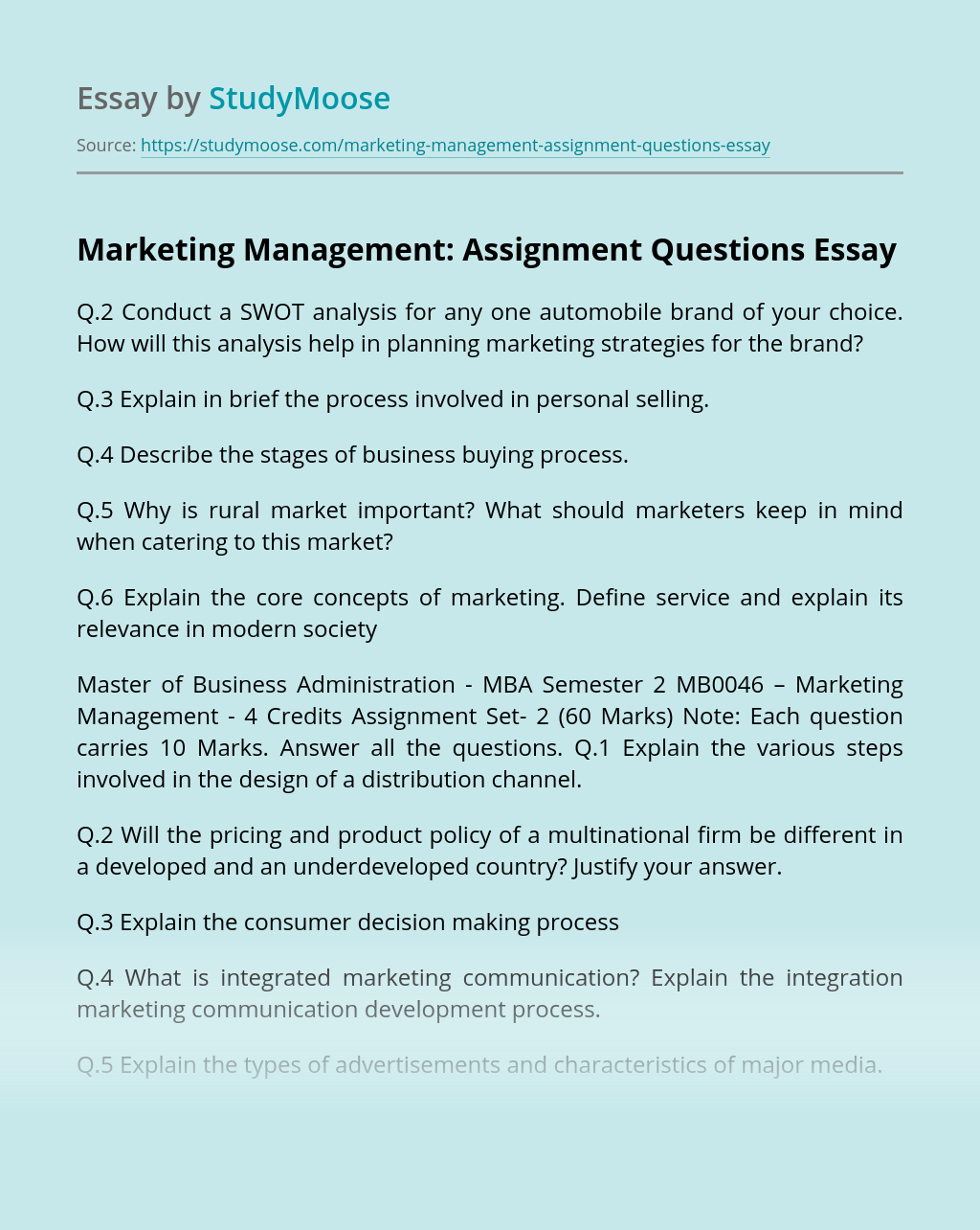 Marketing Management: Assignment Questions