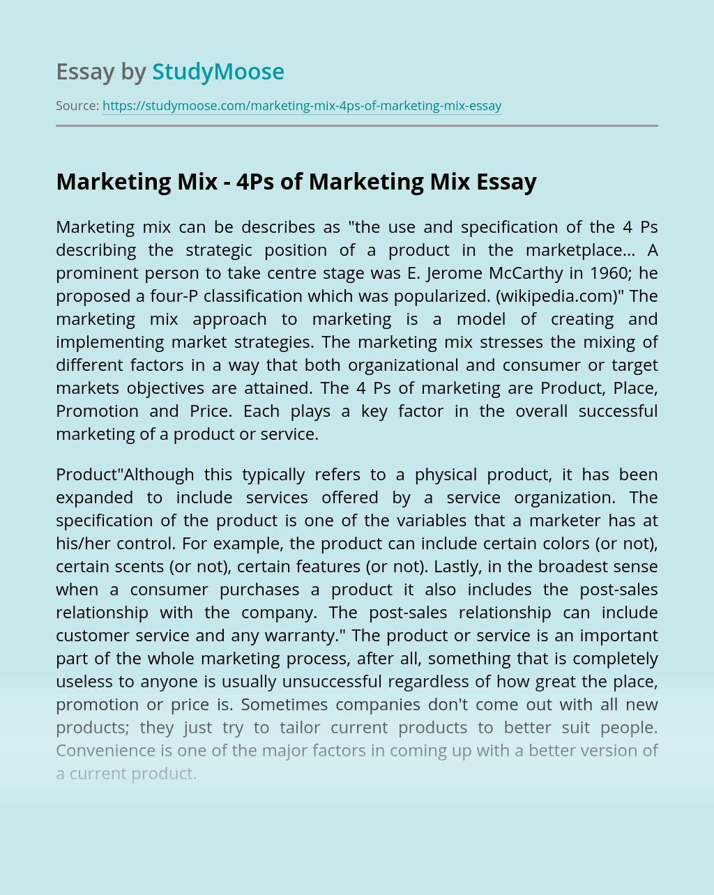 Marketing Mix - 4Ps of Marketing Mix
