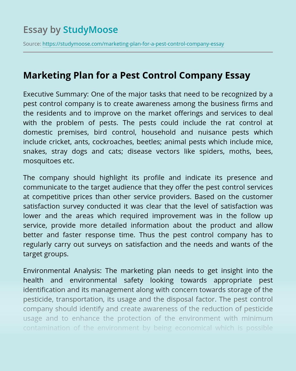 Marketing Plan for a Pest Control Company