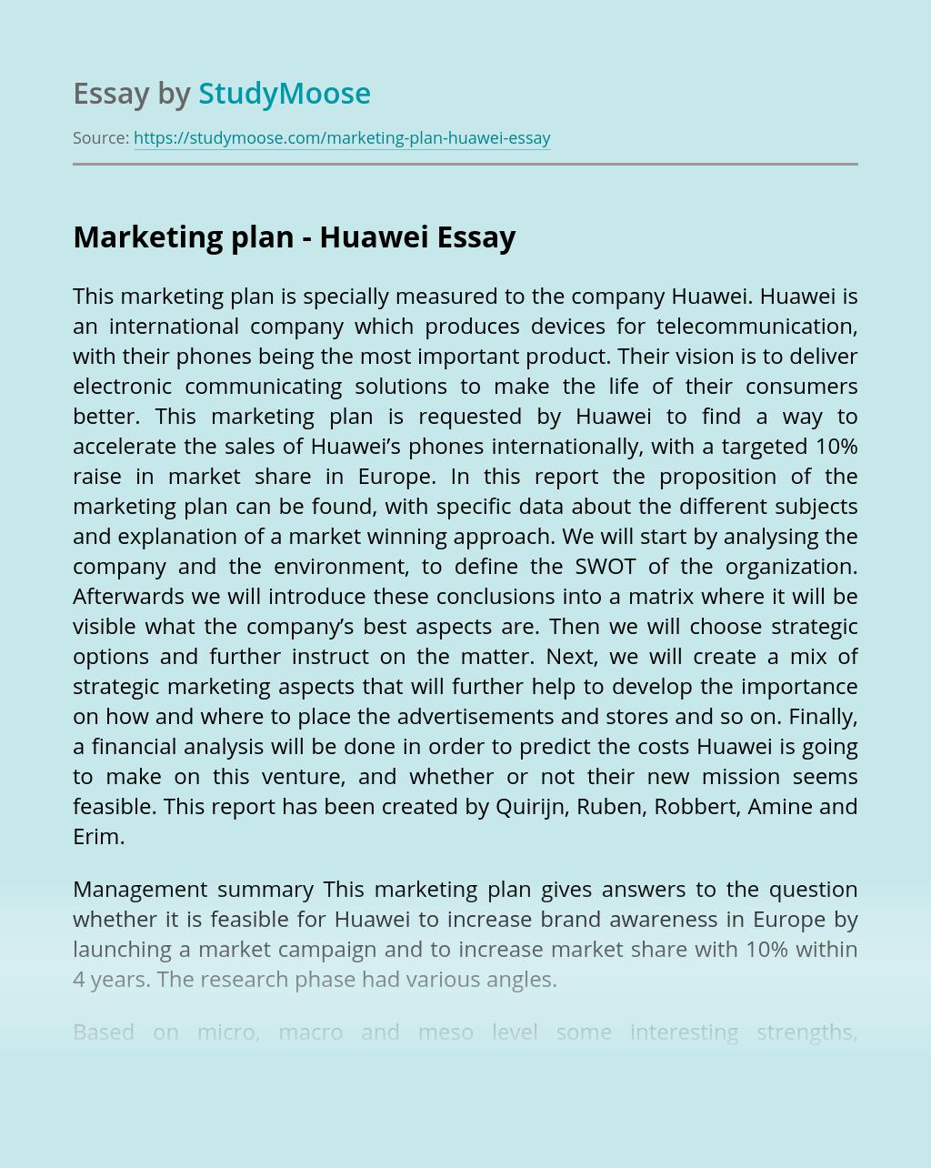 Marketing plan - Huawei
