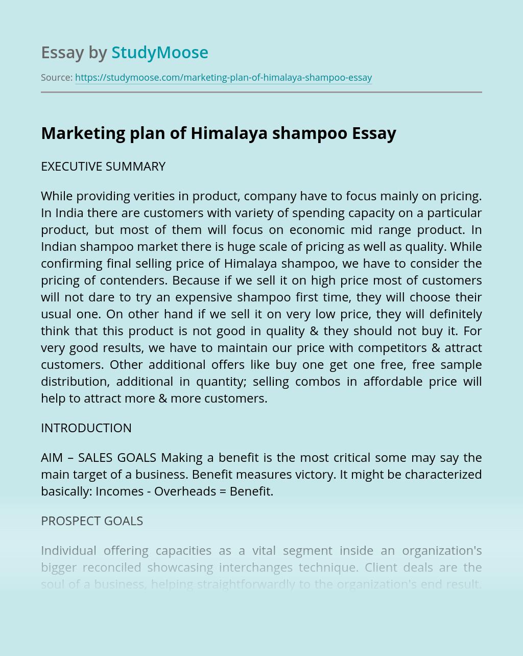 Marketing plan of Himalaya shampoo