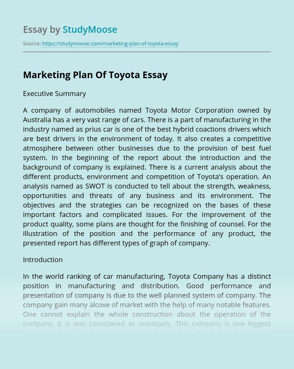 Marketing Plan Of Toyota