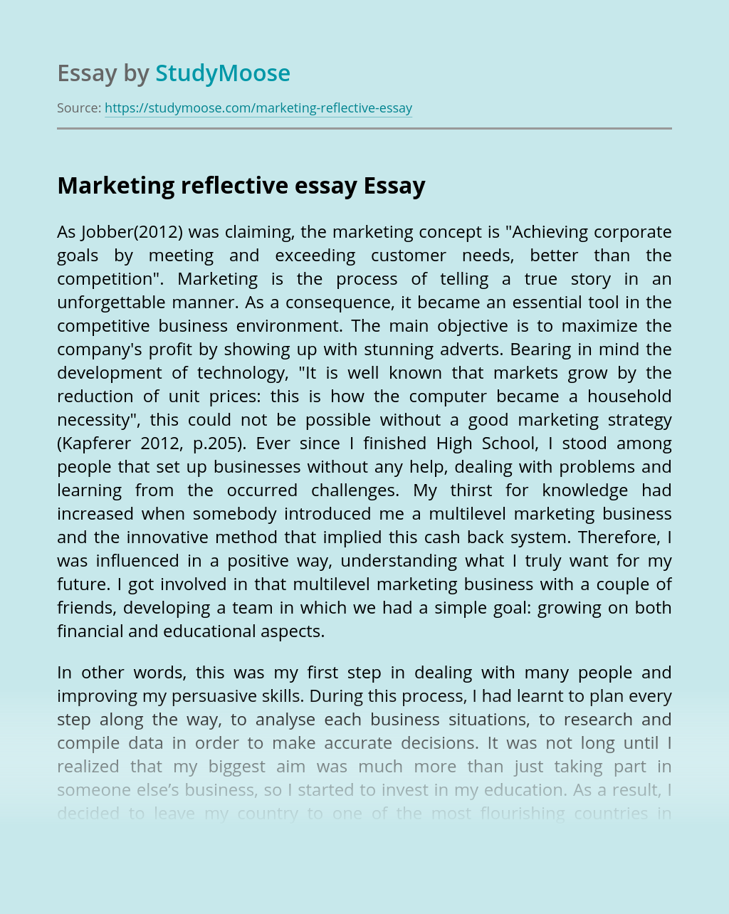 Marketing reflective essay