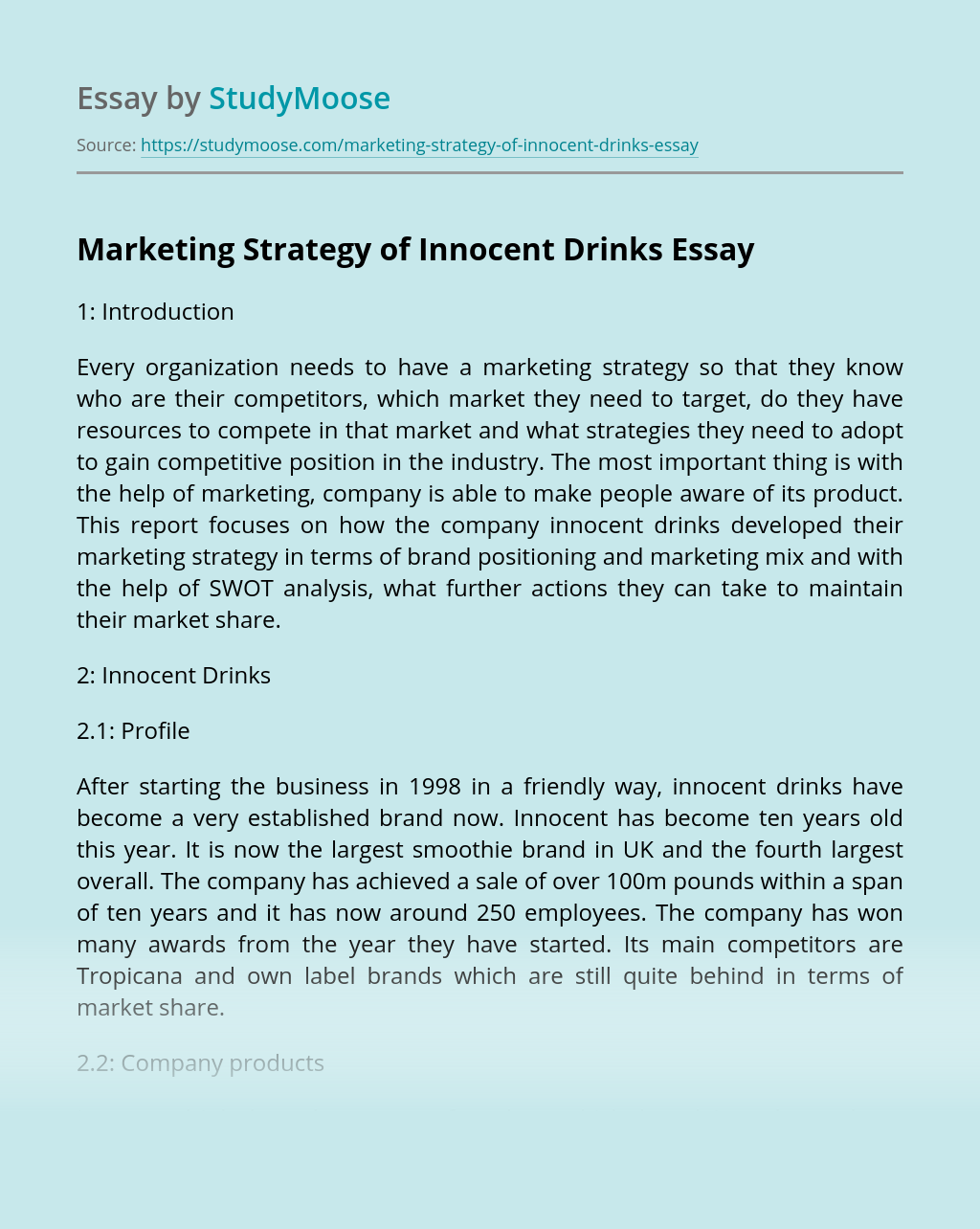 Marketing Strategy of Innocent Drinks