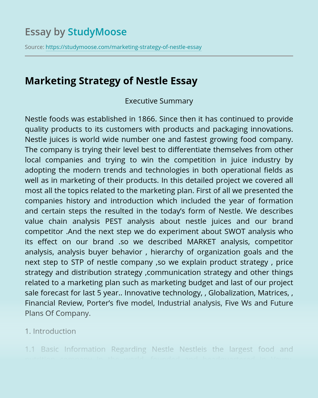 Marketing Strategy of Nestle