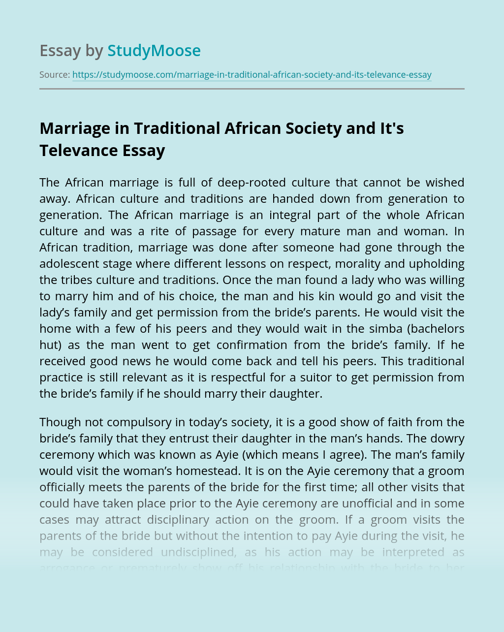 Marriage in Traditional African Society and It's Televance