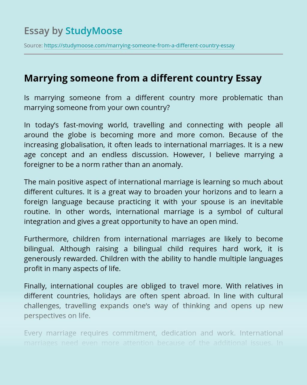 cross cultural marriages essay