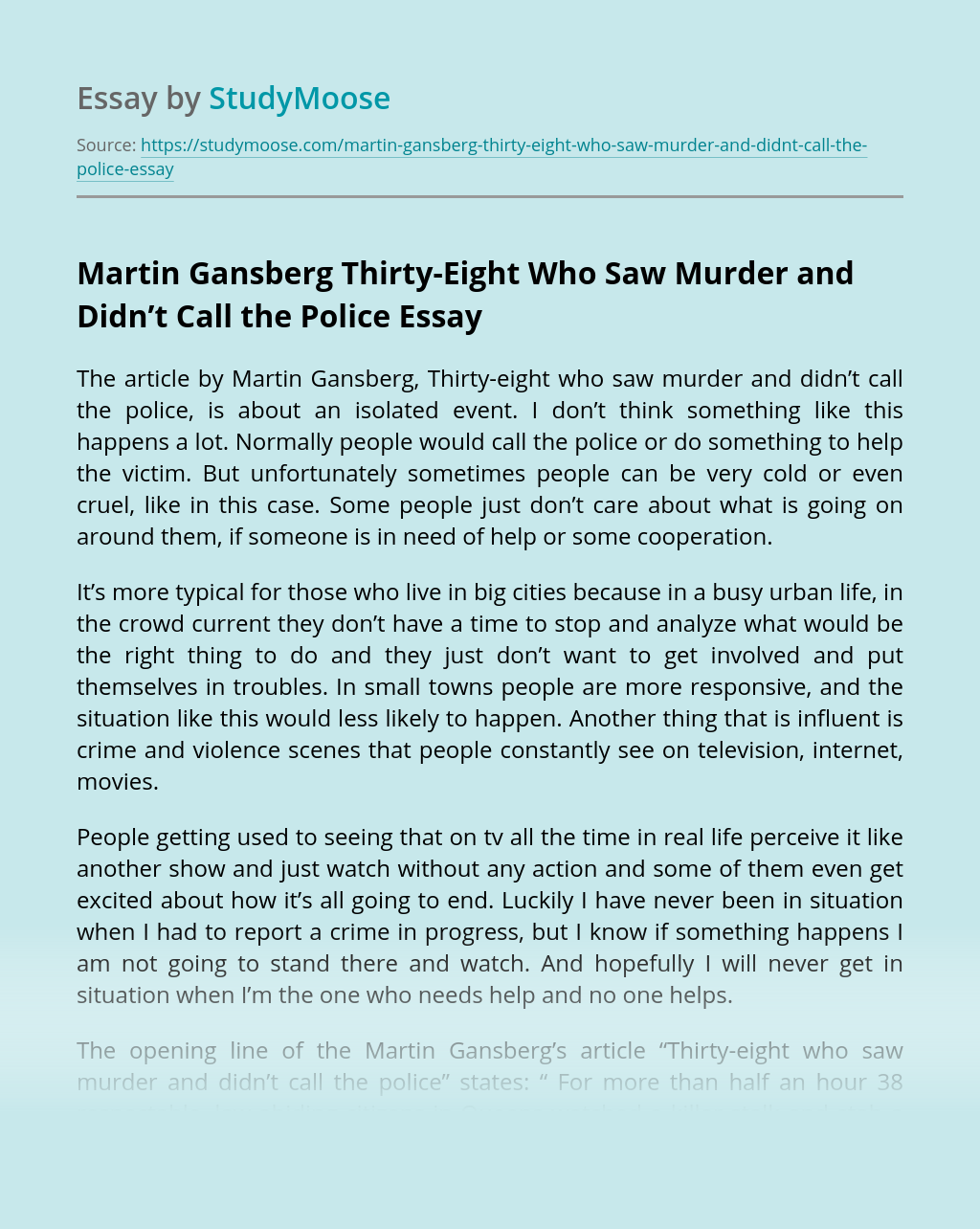 Martin Gansberg Thirty-Eight Who Saw Murder and Didn't Call the Police