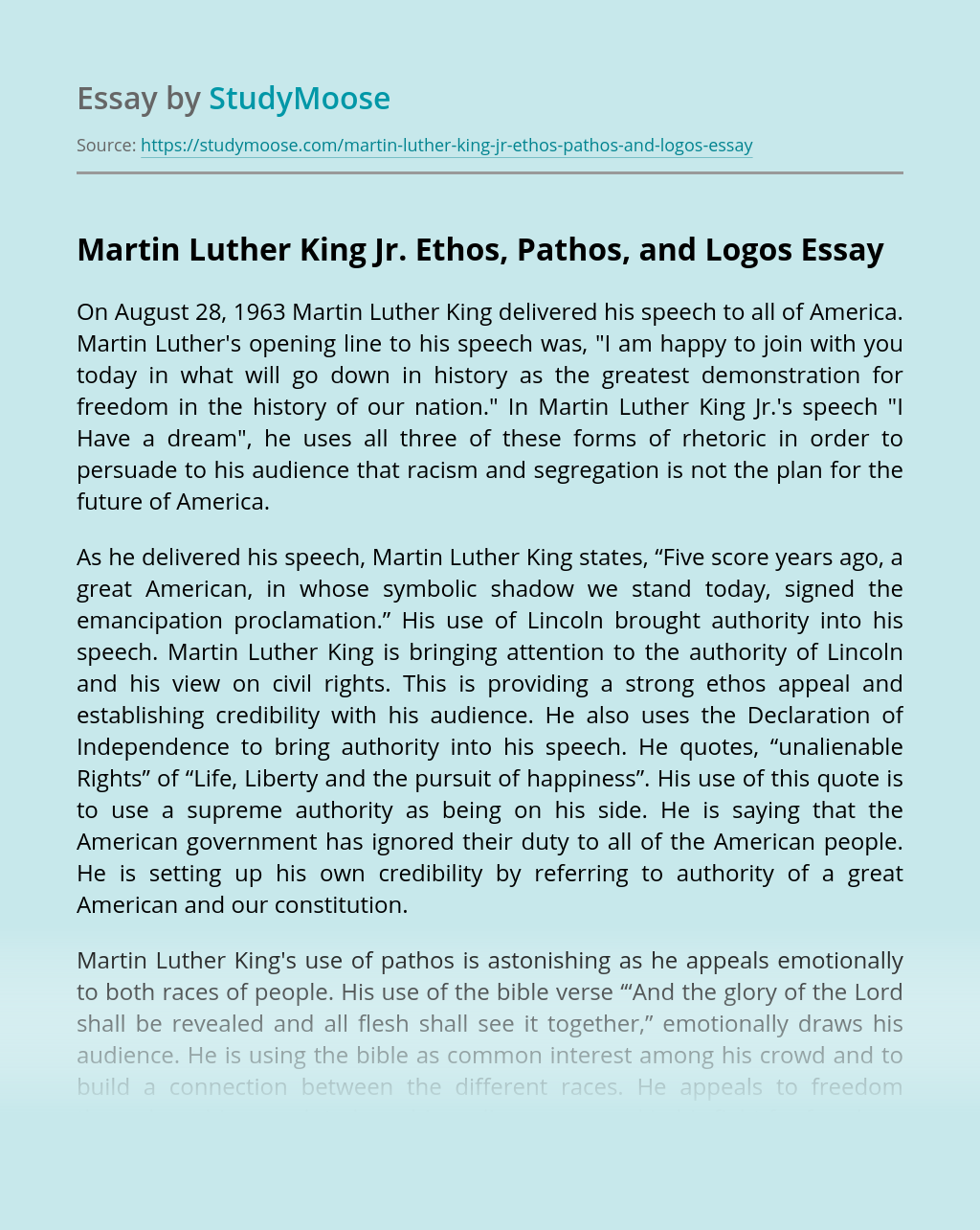 Martin Luther King Jr. Ethos, Pathos, and Logos