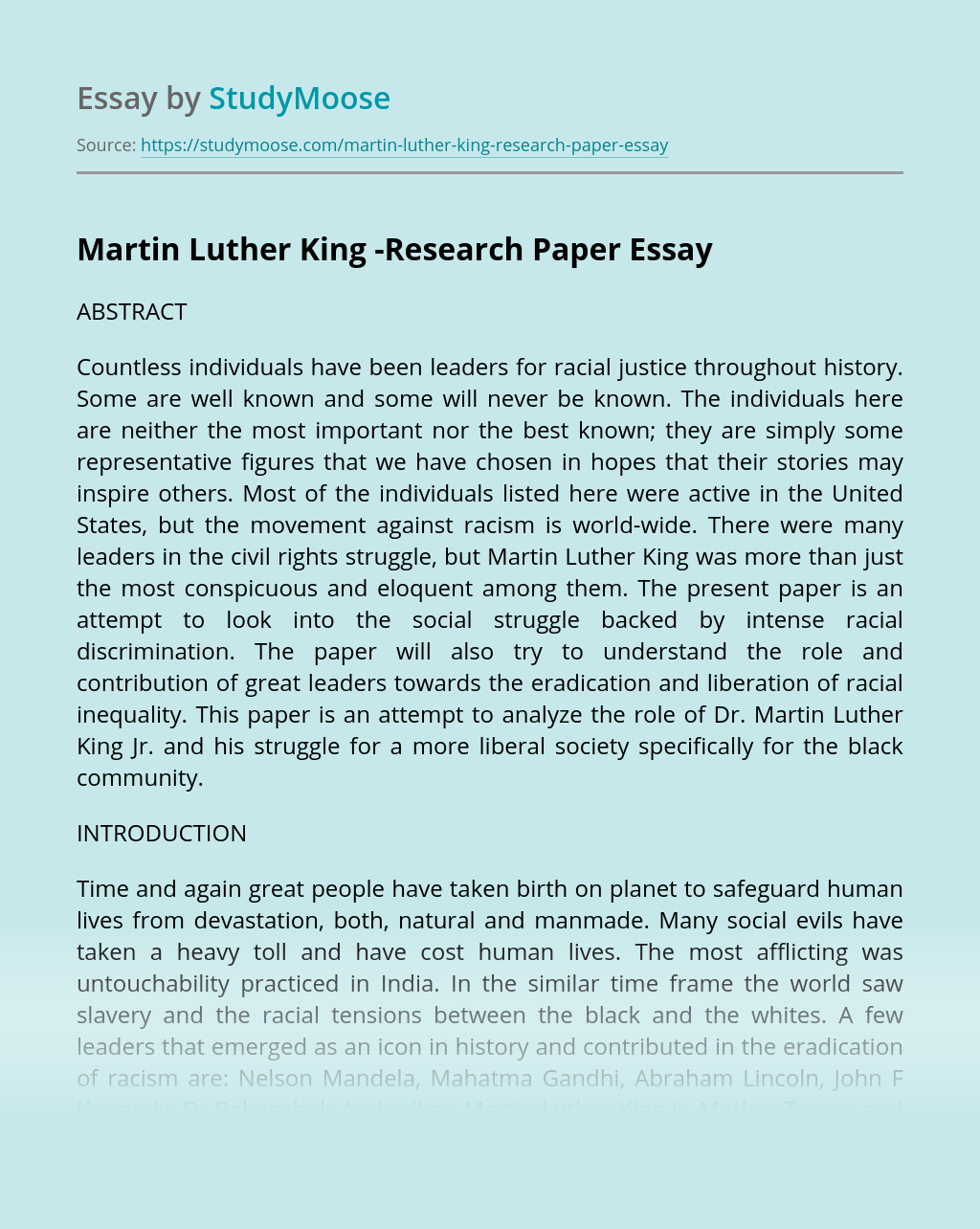 Martin Luther King -Research Paper