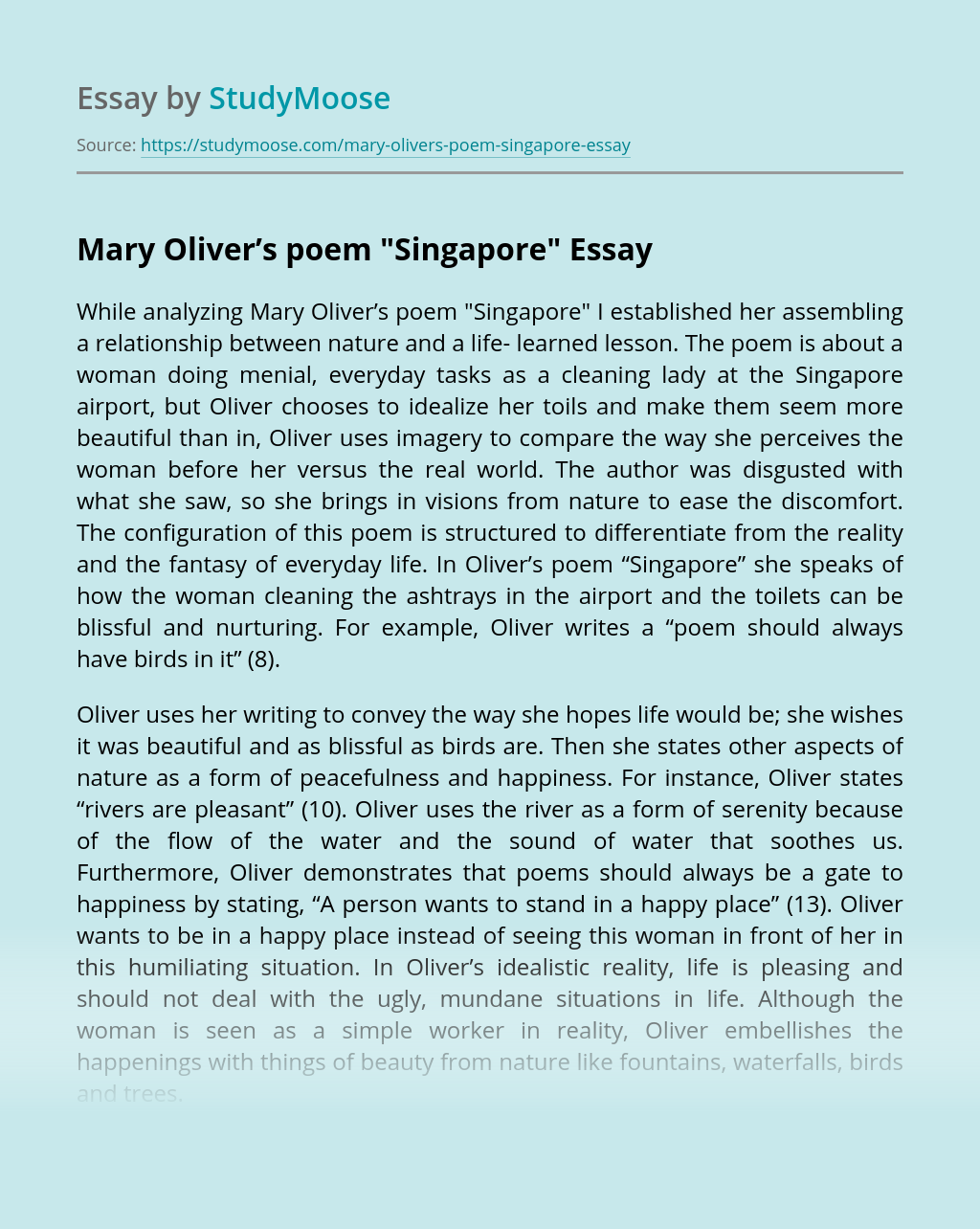 Mary Oliver's poem