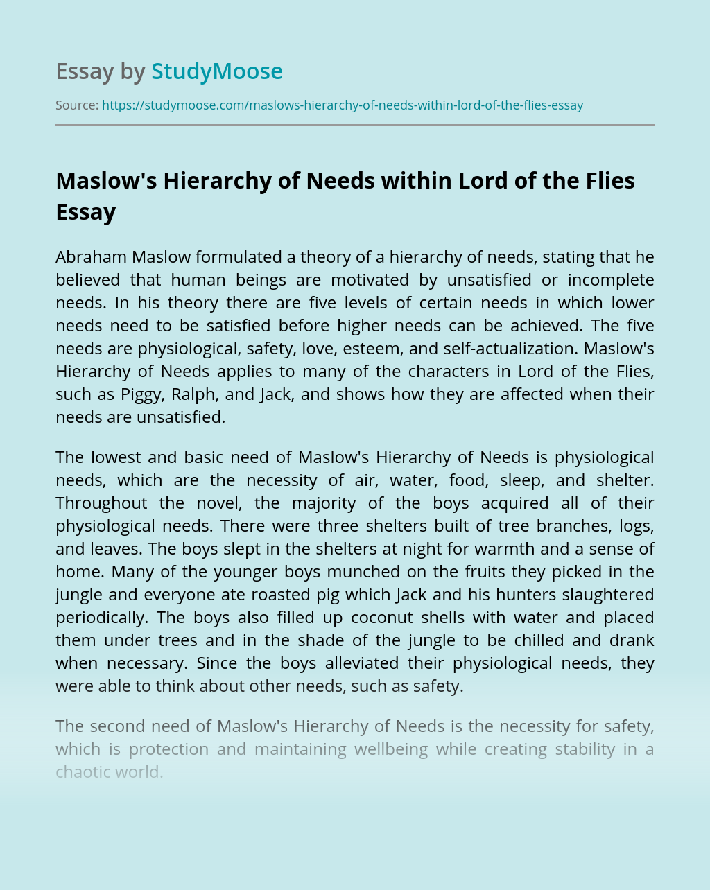 Maslow's Hierarchy of Needs within Lord of the Flies