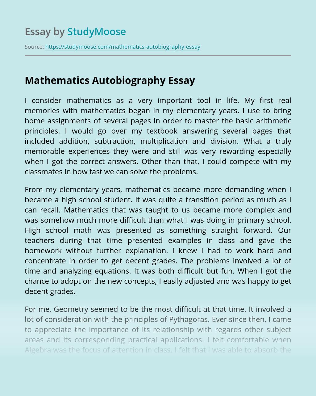 Mathematics Autobiography