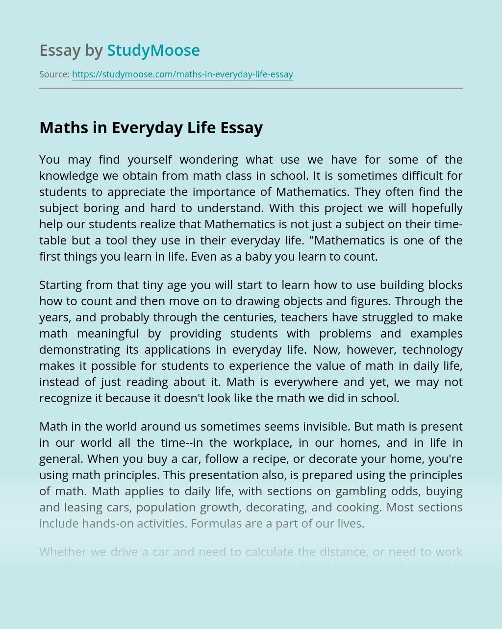 essay mathematics in everyday world