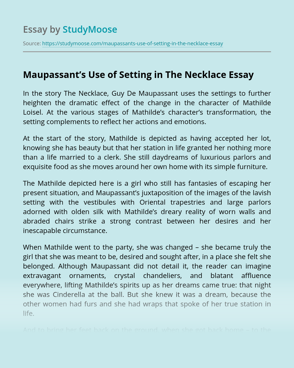 Maupassant's Use of Setting in The Necklace