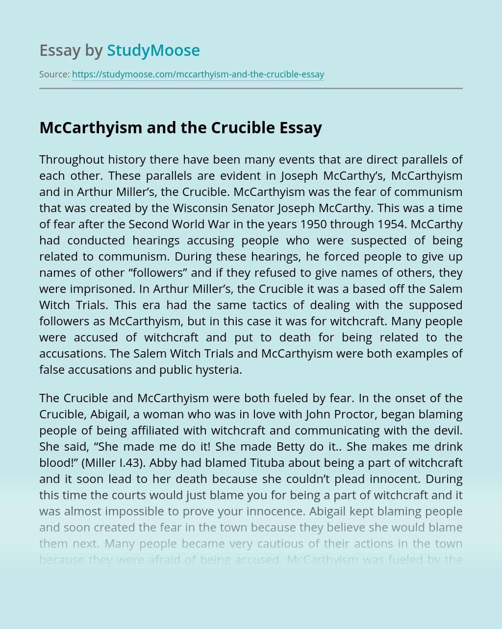 McCarthyism and the Crucible