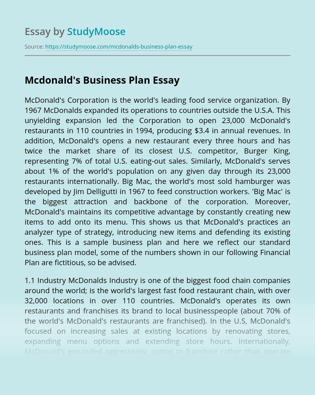 Mcdonald's Business Plan