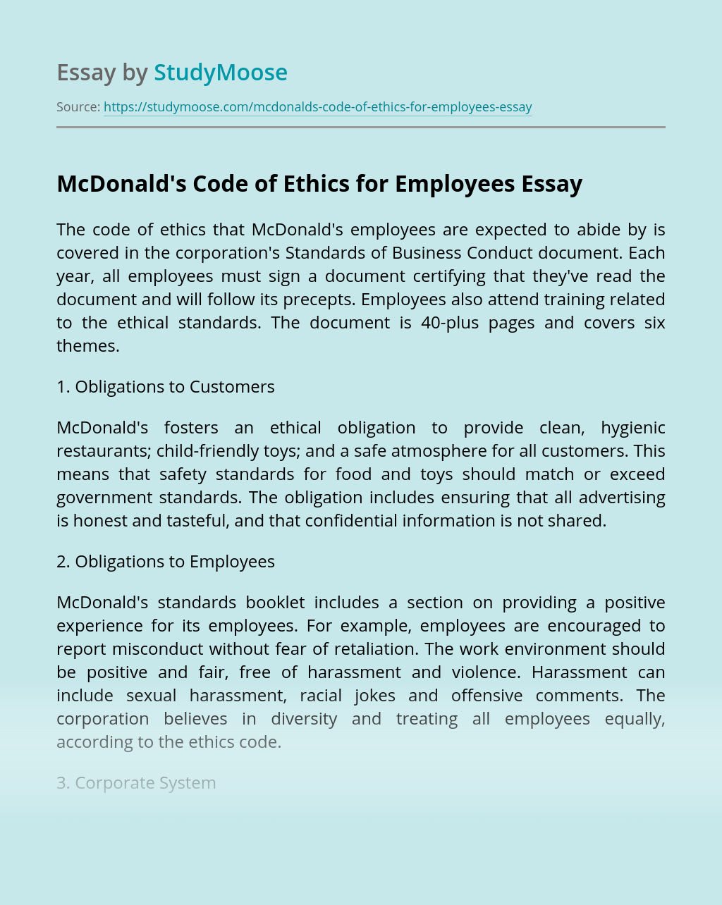 McDonald's Code of Ethics for Employees