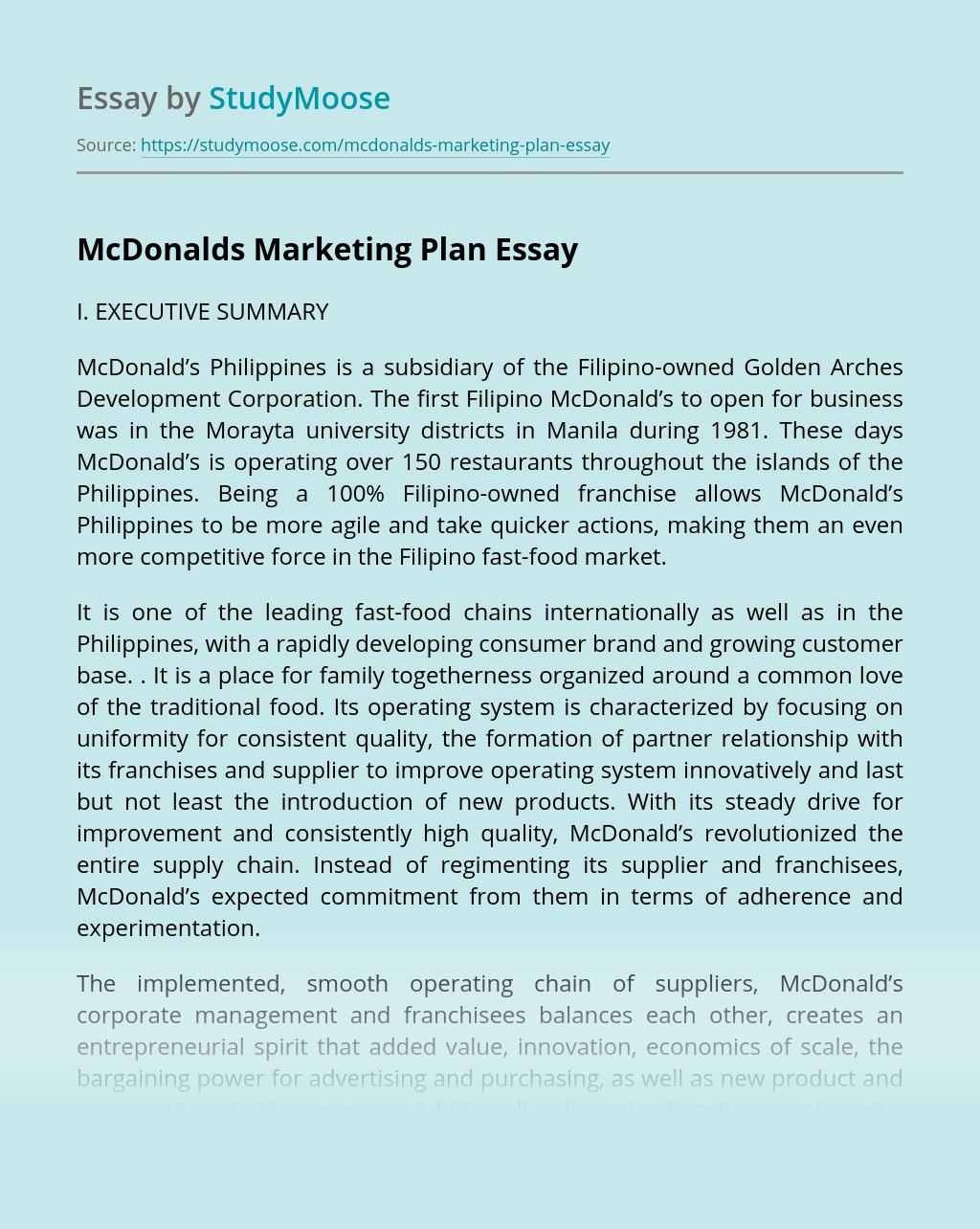 McDonalds Marketing Plan