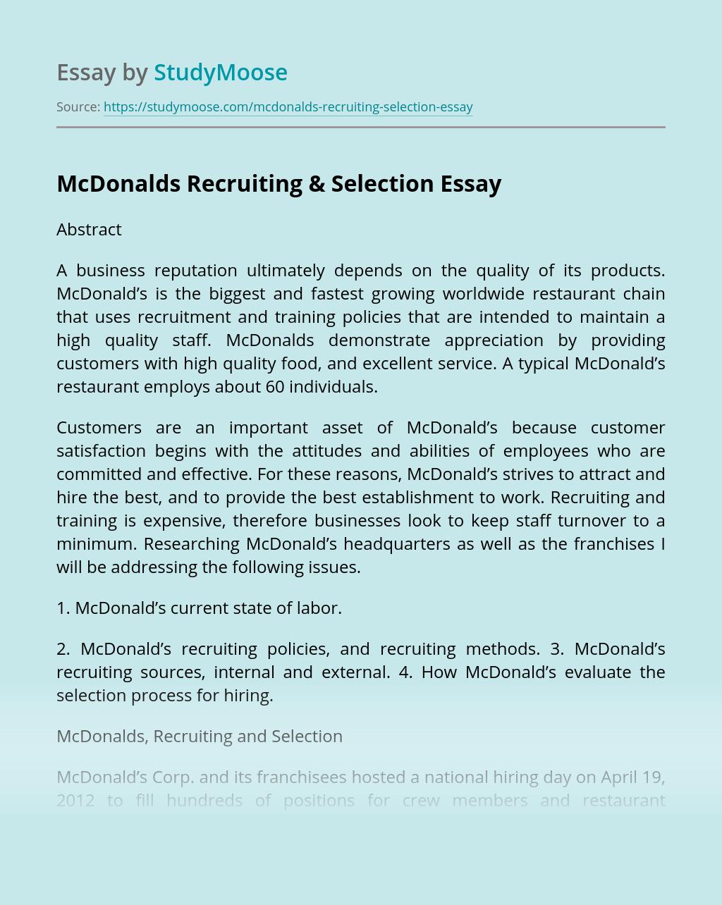 McDonalds Recruiting & Selection