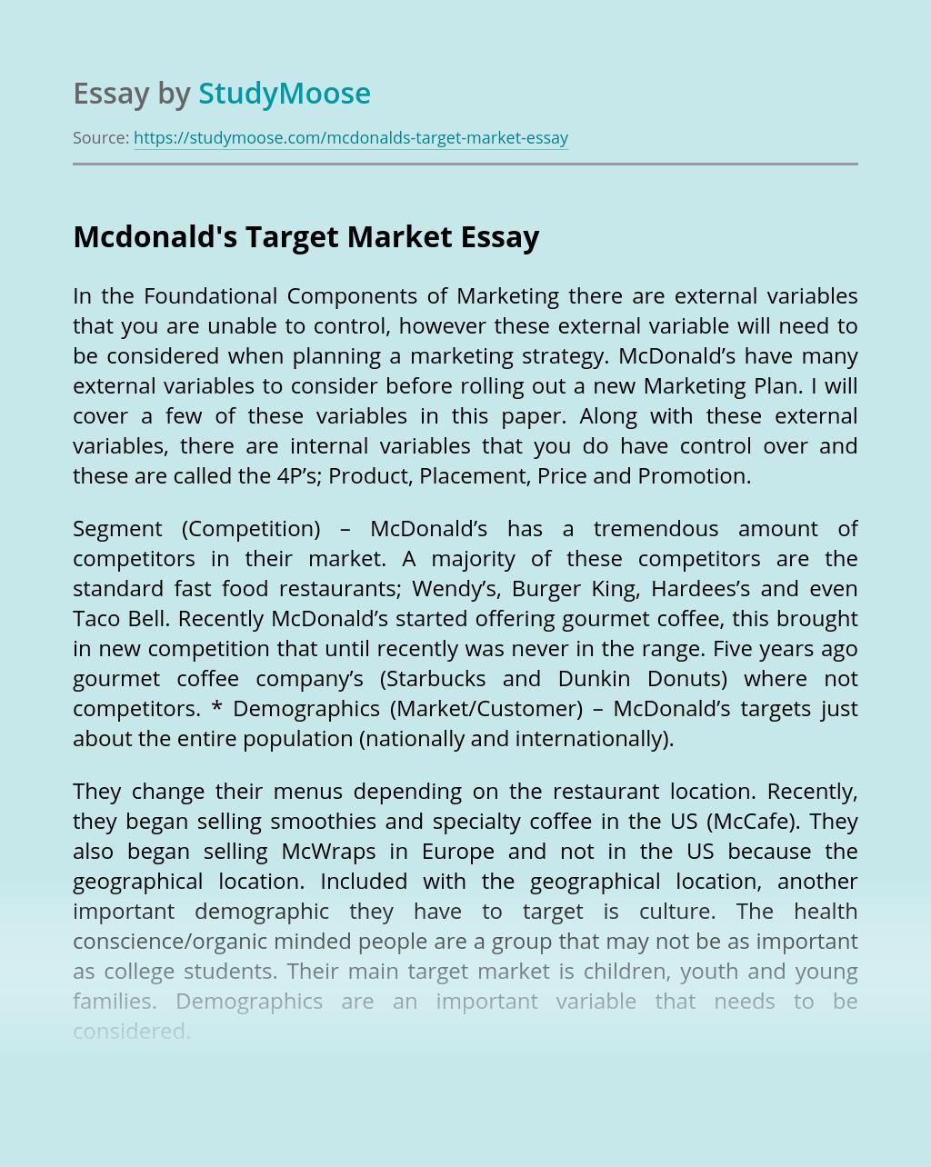 Mcdonald's Target Market