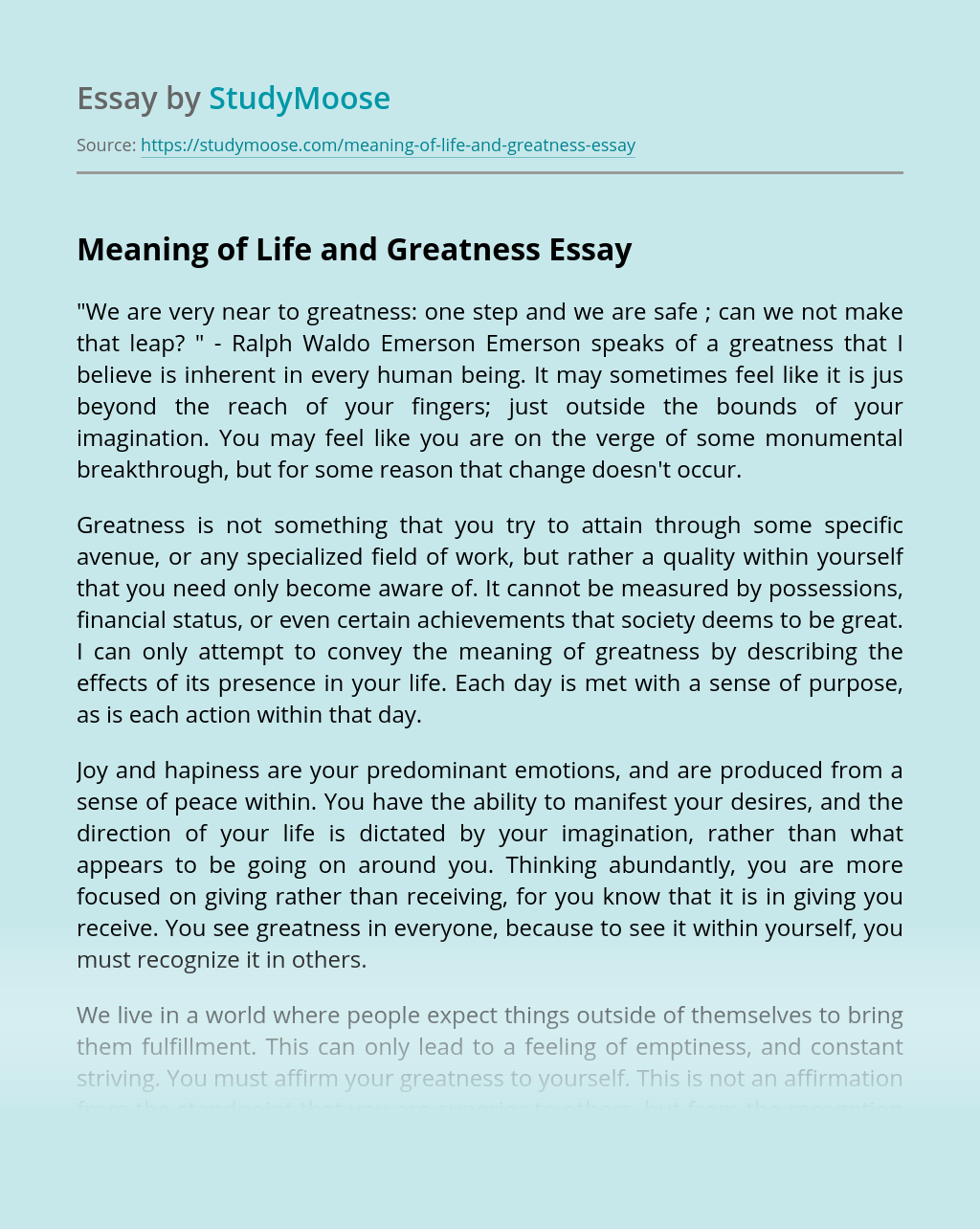 Meaning of Life and Greatness