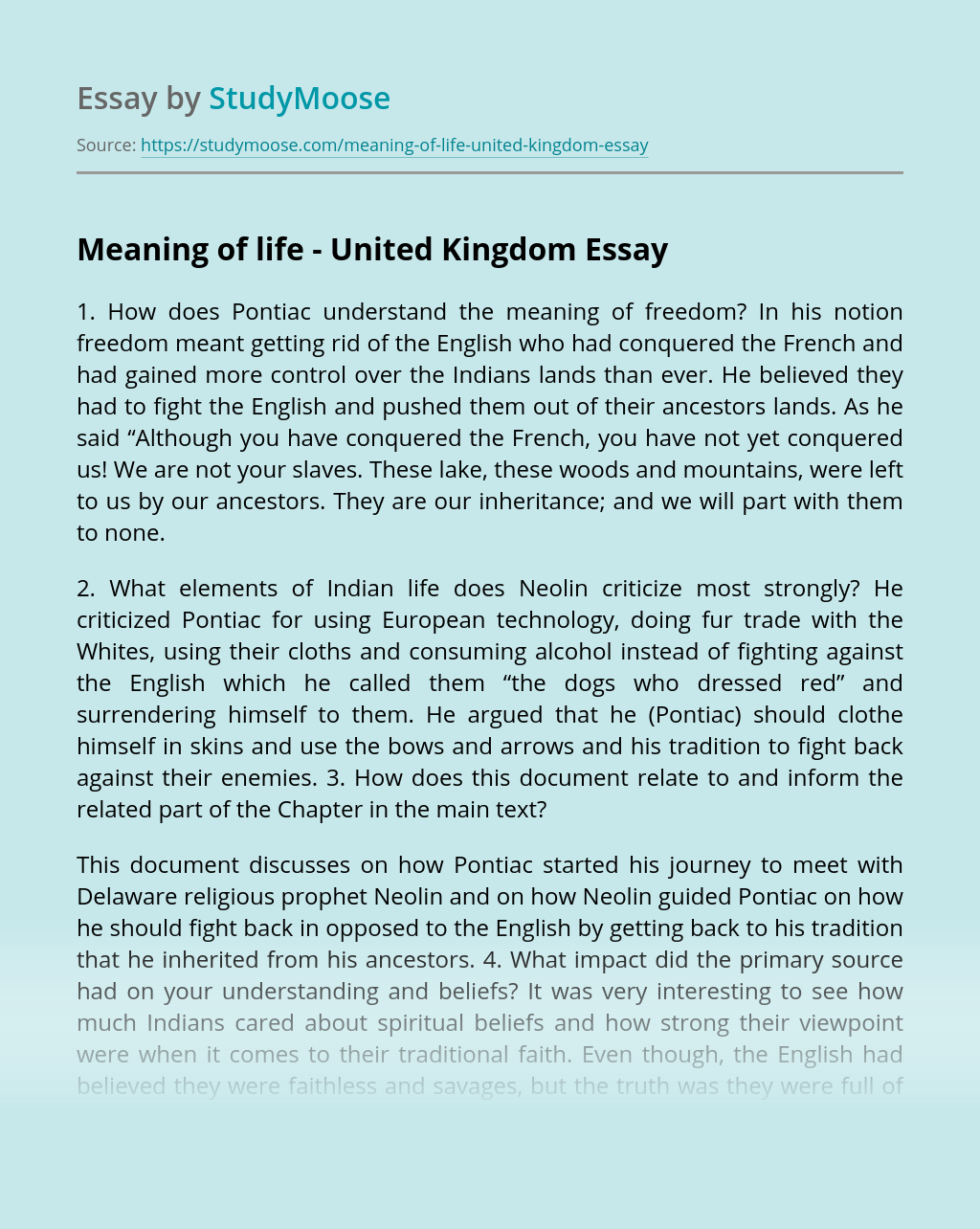 Meaning of life – United Kingdom