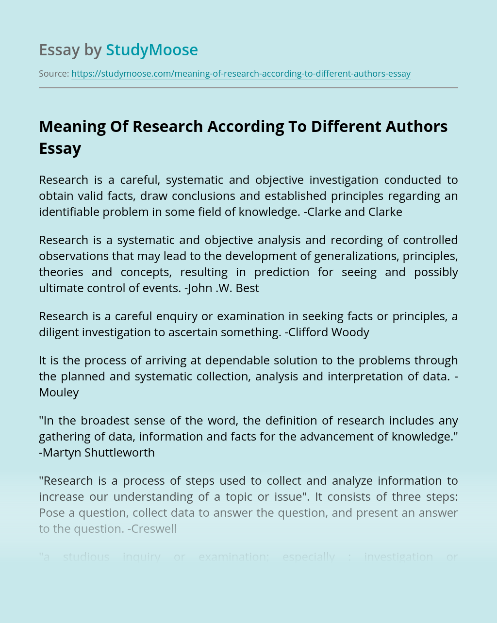 Meaning Of Research According To Different Authors