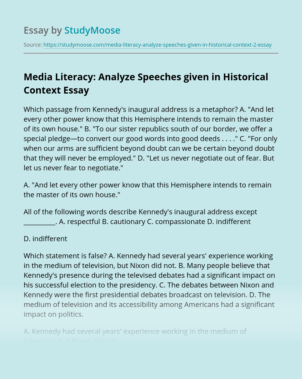 Media Literacy: Analyze Speeches given in Historical Context