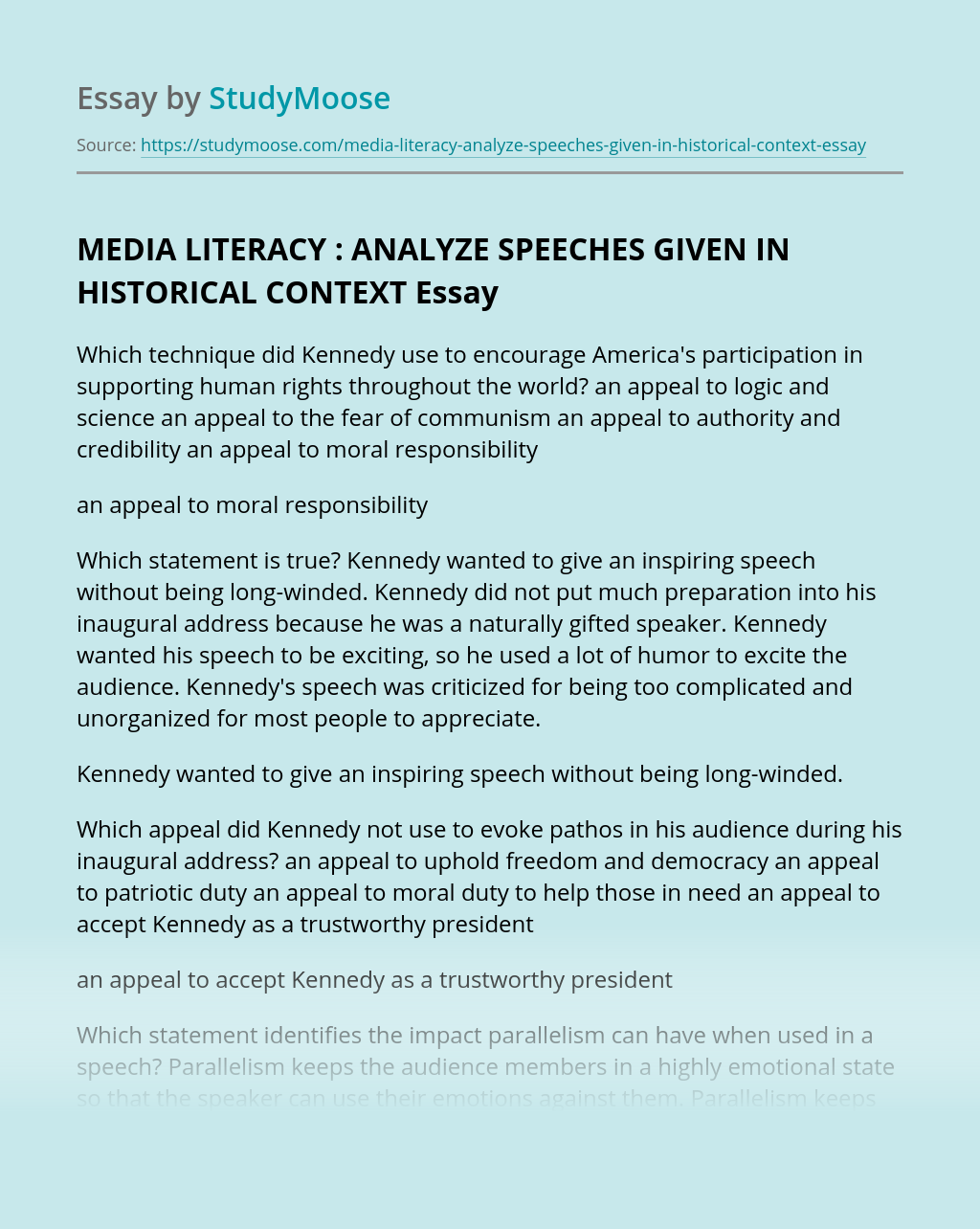 MEDIA LITERACY : ANALYZE SPEECHES GIVEN IN HISTORICAL CONTEXT