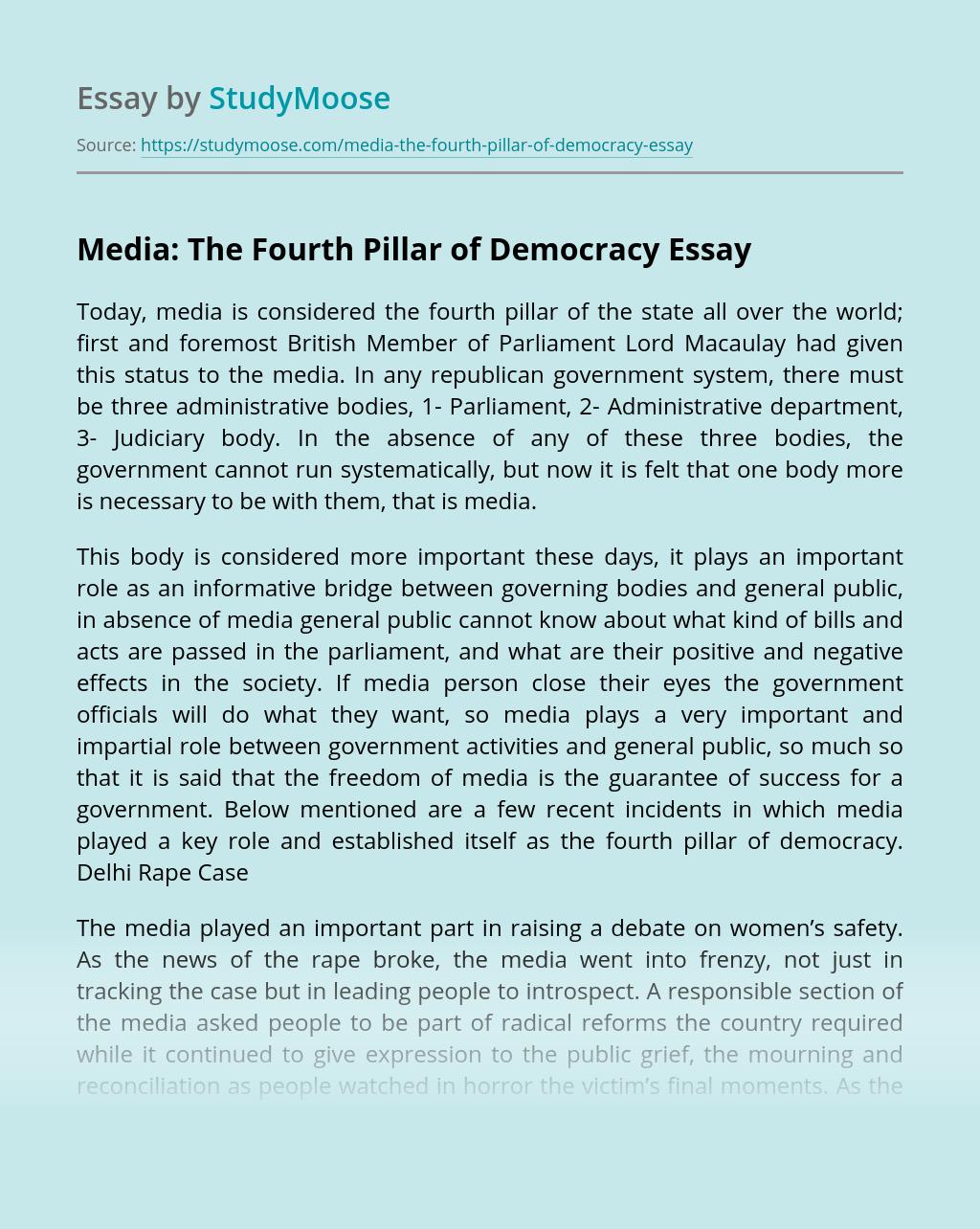 Media: The Fourth Pillar of Democracy