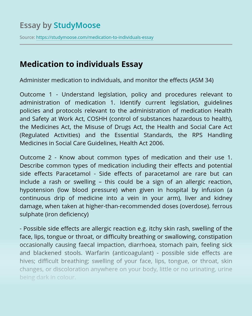 Medication to individuals