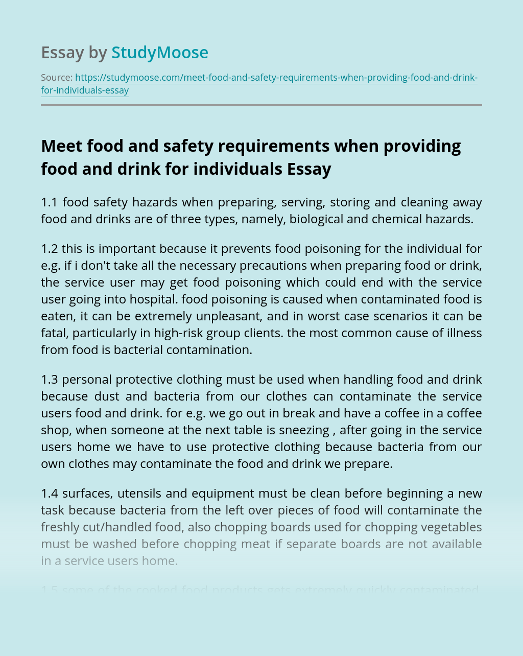Meet food and safety requirements when providing food and drink for individuals