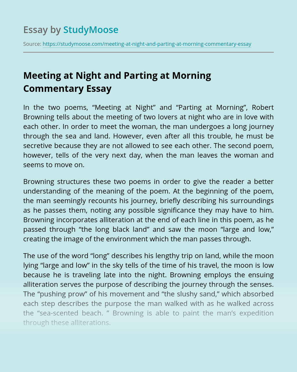 Meeting at Night and Parting at Morning Commentary