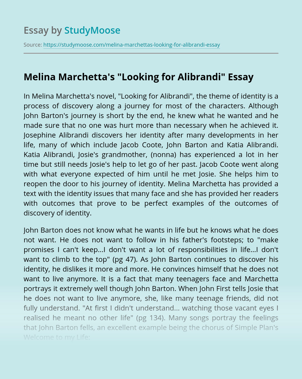 "Melina Marchetta's ""Looking for Alibrandi"""