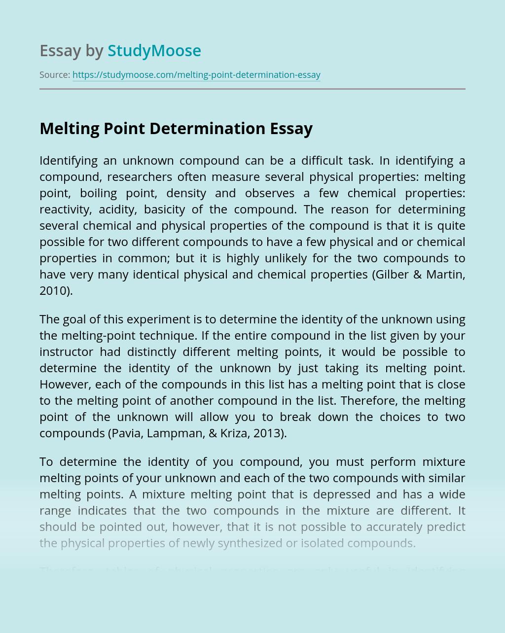 Melting Point Determination