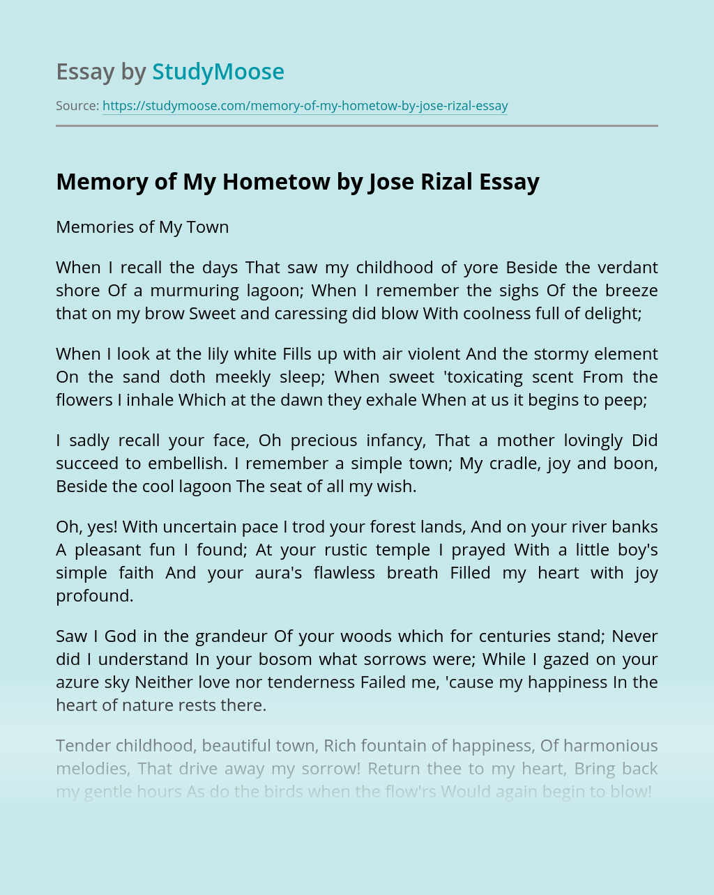 Memory of My Hometow by Jose Rizal