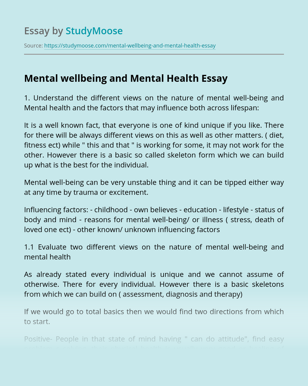 Mental wellbeing and Mental  Health