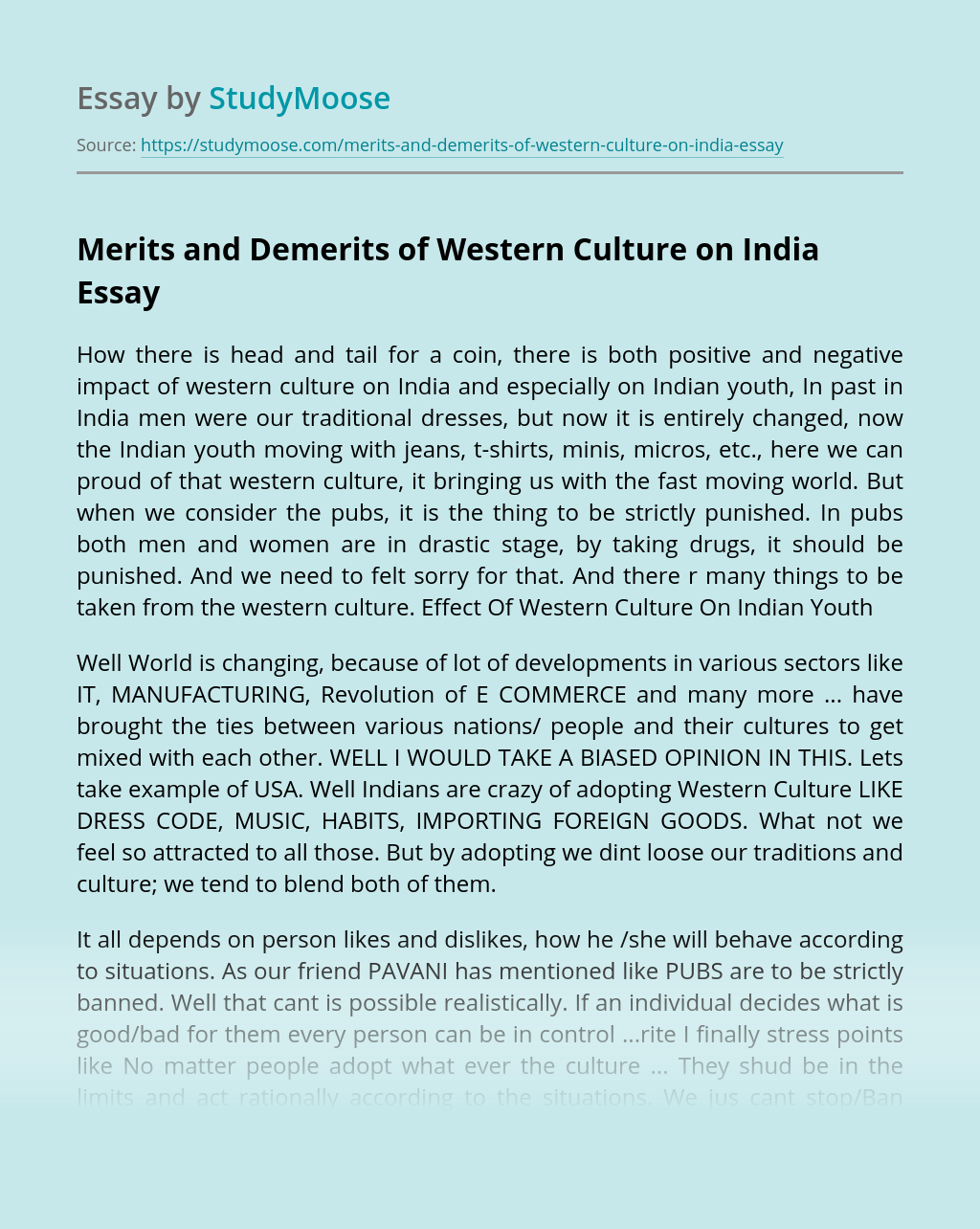 Merits and Demerits of Western Culture on India