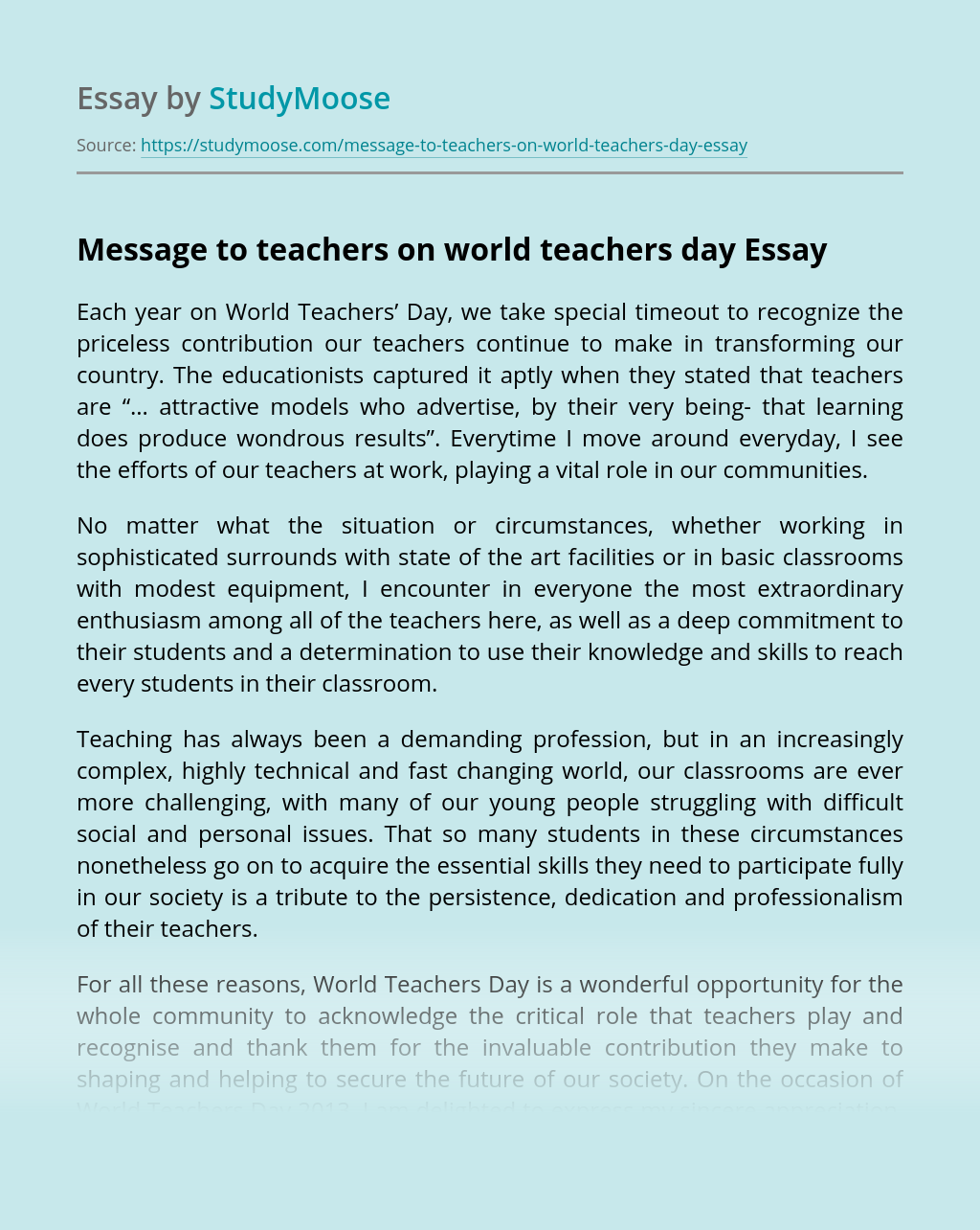 Message to teachers on world teachers day