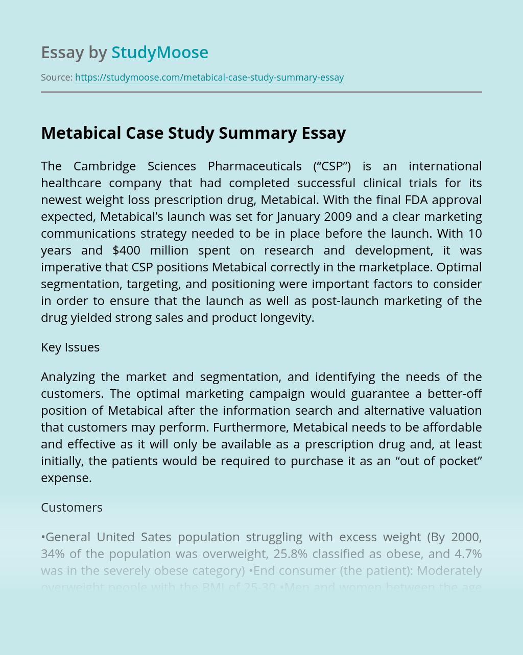 Metabical Case Study Summary