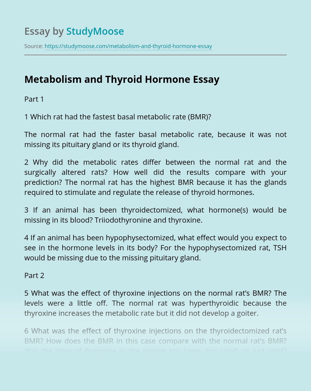 Metabolism and Thyroid Hormone