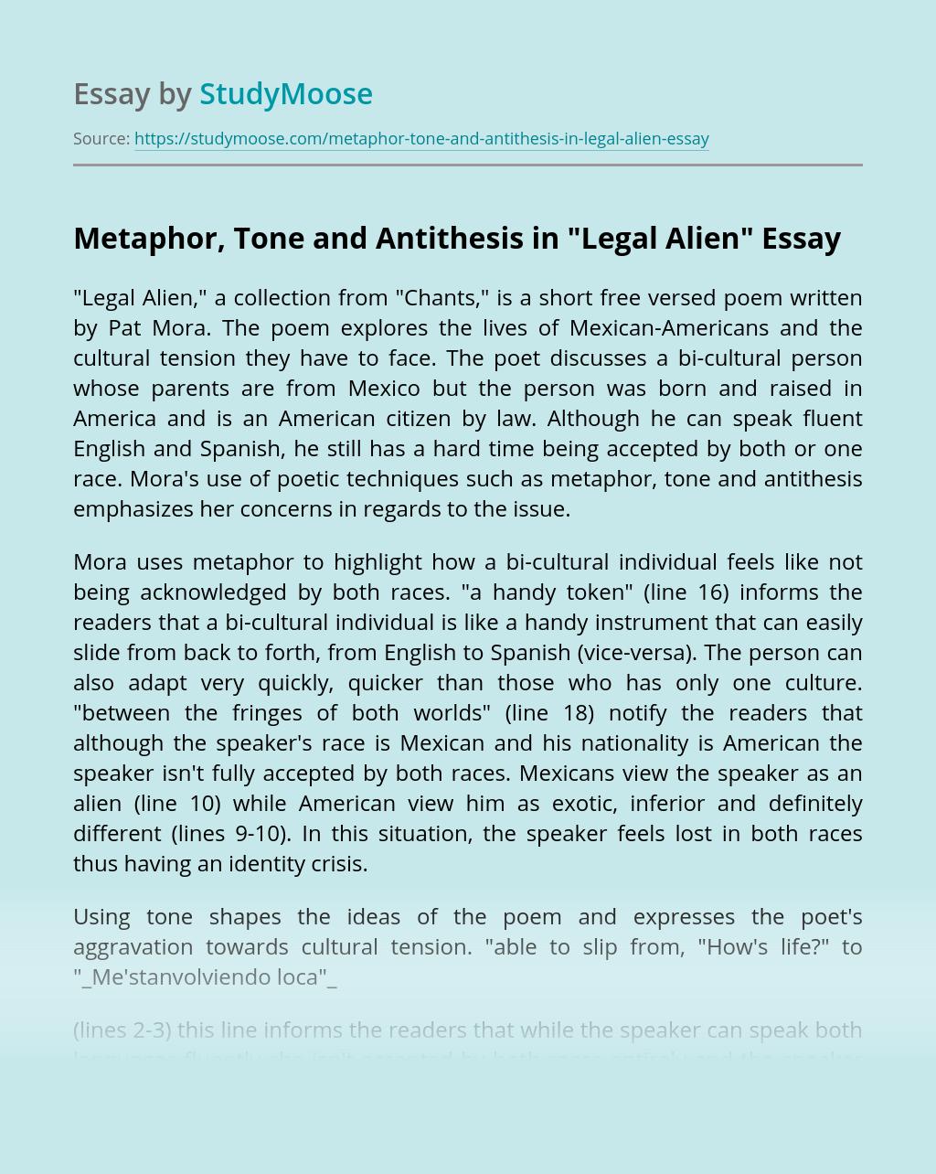 "Metaphor, Tone and Antithesis in ""Legal Alien"""