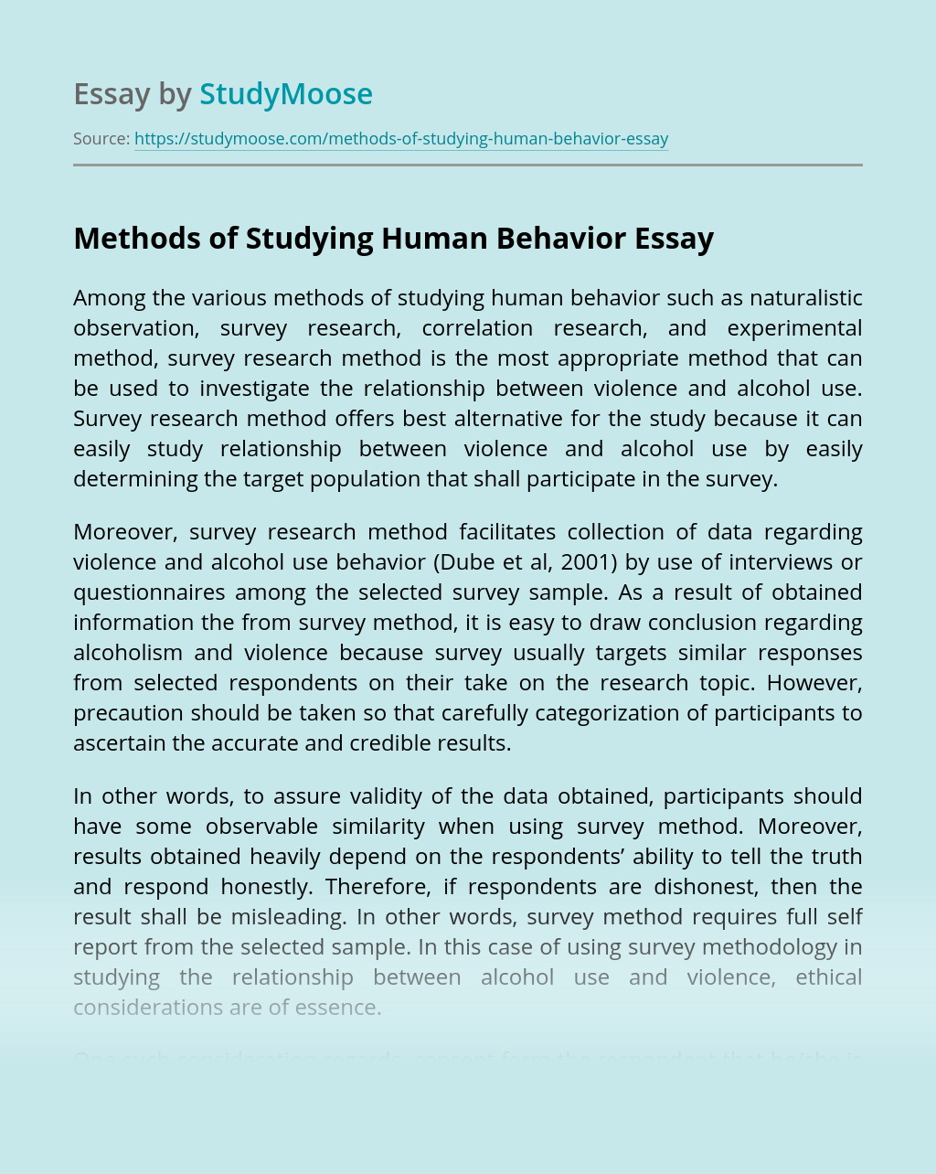 Methods of Studying Human Behavior