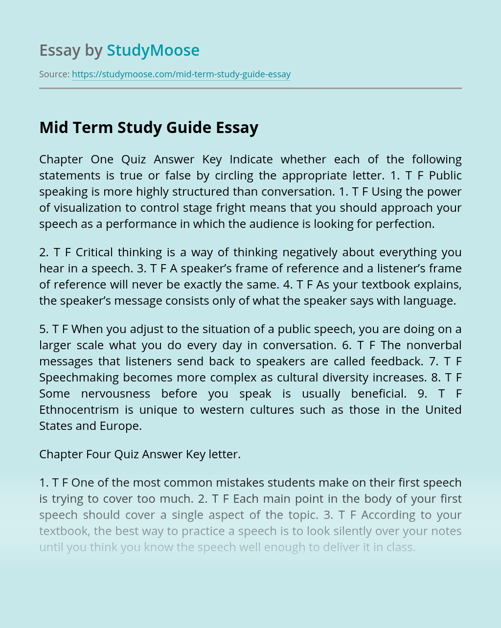 Mid Term Study Guide