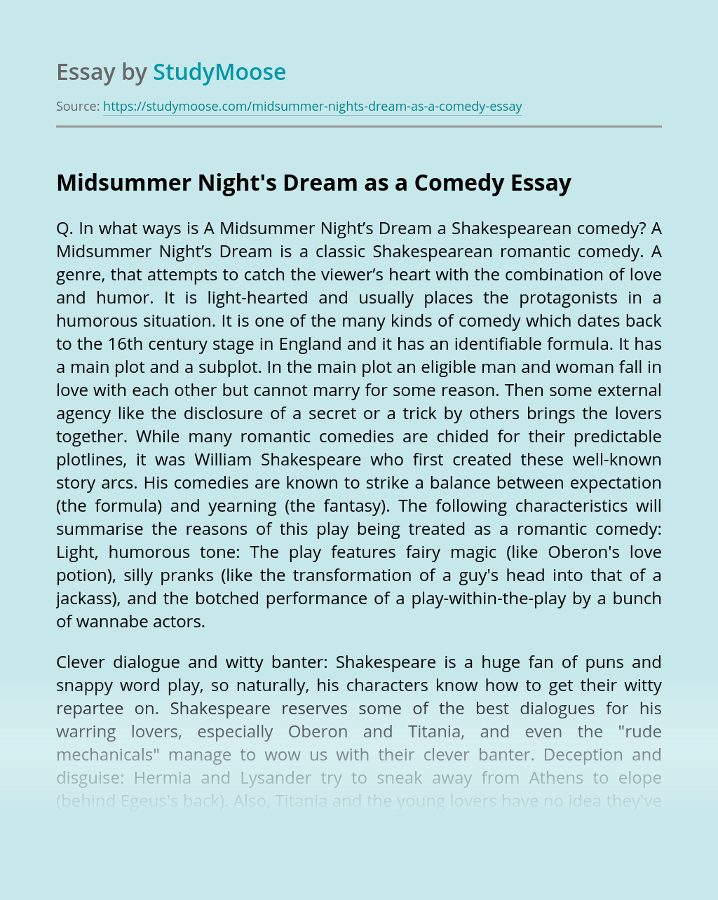 Midsummer Night's Dream as a Comedy